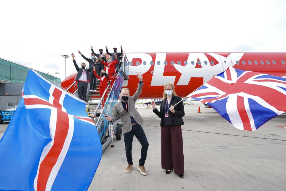 PLAY Crew Arriving in London Stansted on Inaugural flight 24.06.21