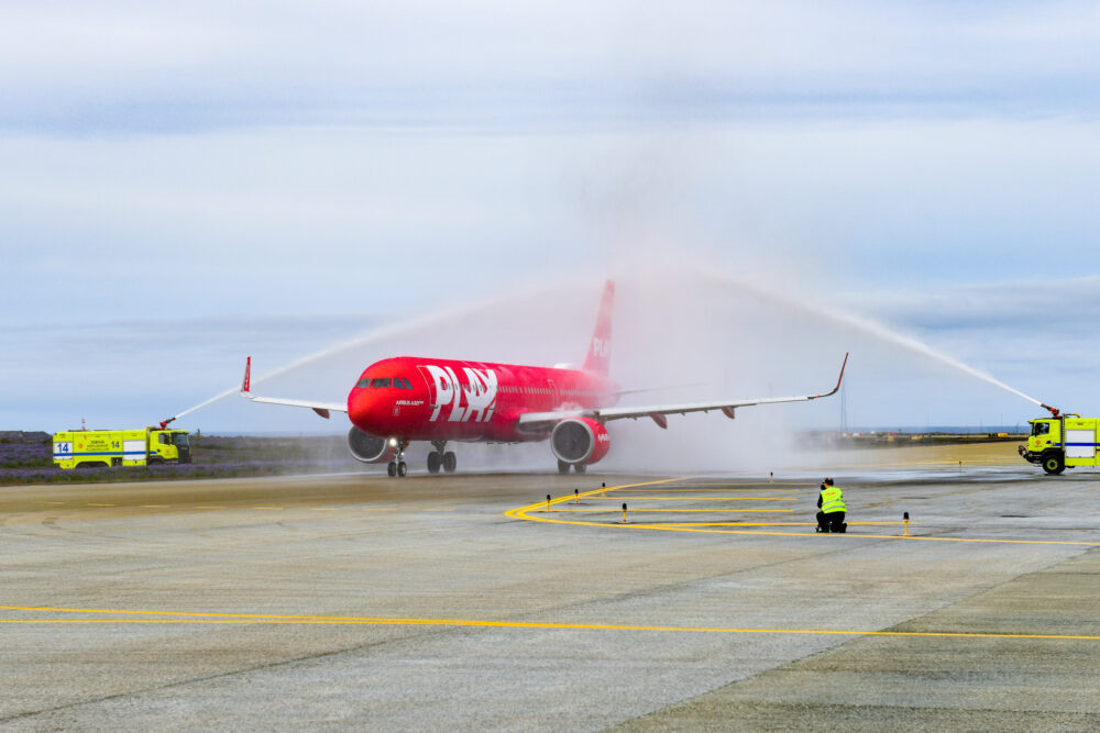PLAY aircraft at Keflavik Airport for Inaugural Flight to London Stansted 24.06.21