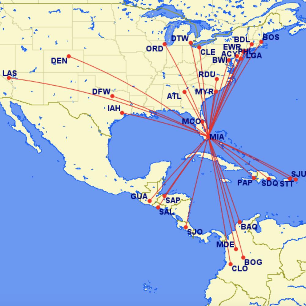Spirit Miami route map