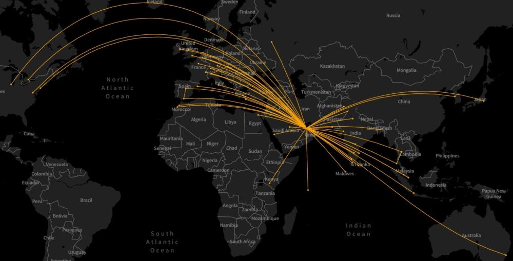 Etihad's August 2021 routes