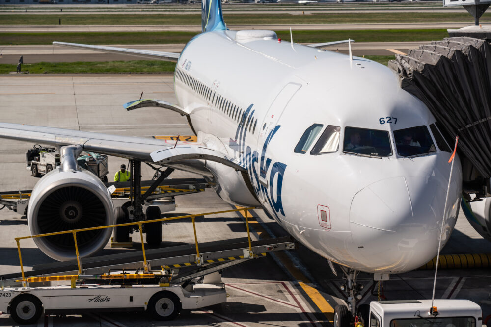 Alaska Airlines Airbus A320-200 aircraft seen at Norman Y.