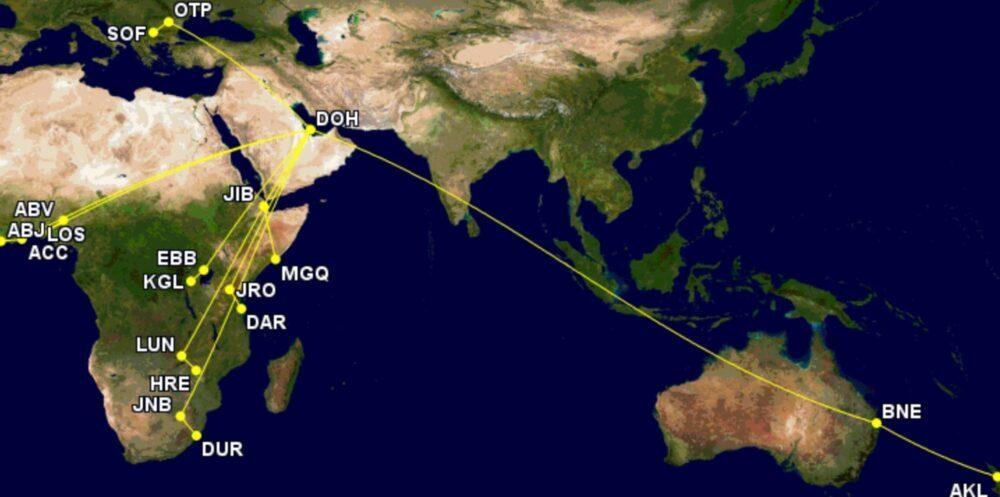 Qatar Airways' one-stop services in August 2021