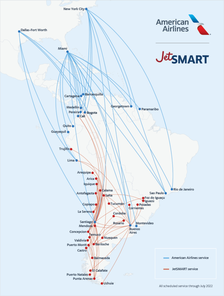 American JetSMART Route Map