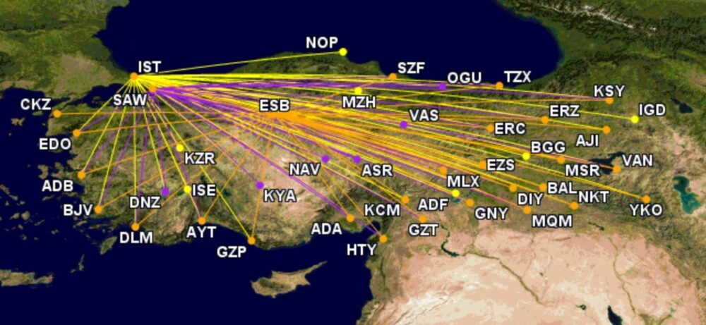 Turkish Airlines' domestic network on July 14th 2021