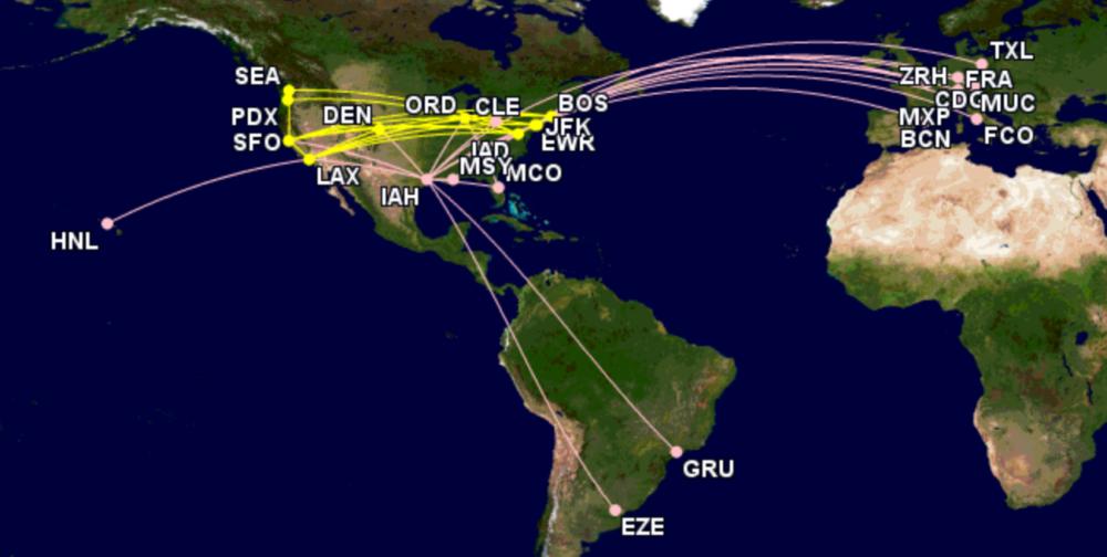 United's B767-200 network
