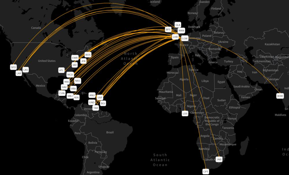 Virgin's B747-400 network 2004 to 2020