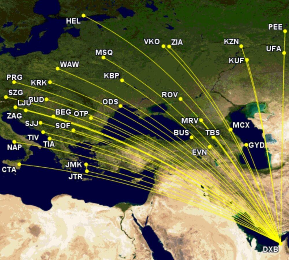 flydubai's European network summer 2021