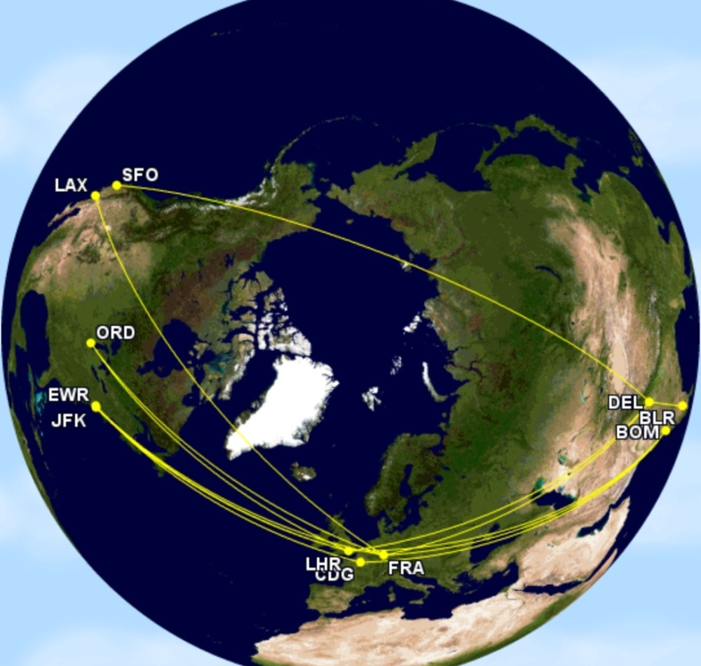 Air India B747-400 routes to the US