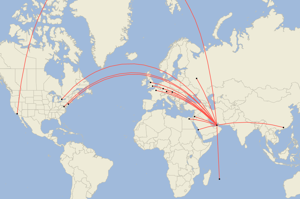 Emirates, Airbus A380, September Routes