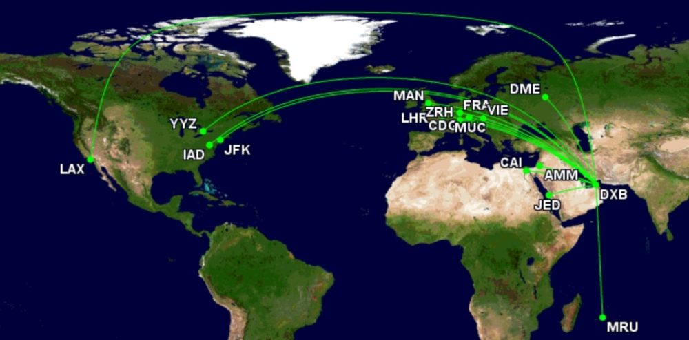 Emirates A380 routes week starting August 28th 2021