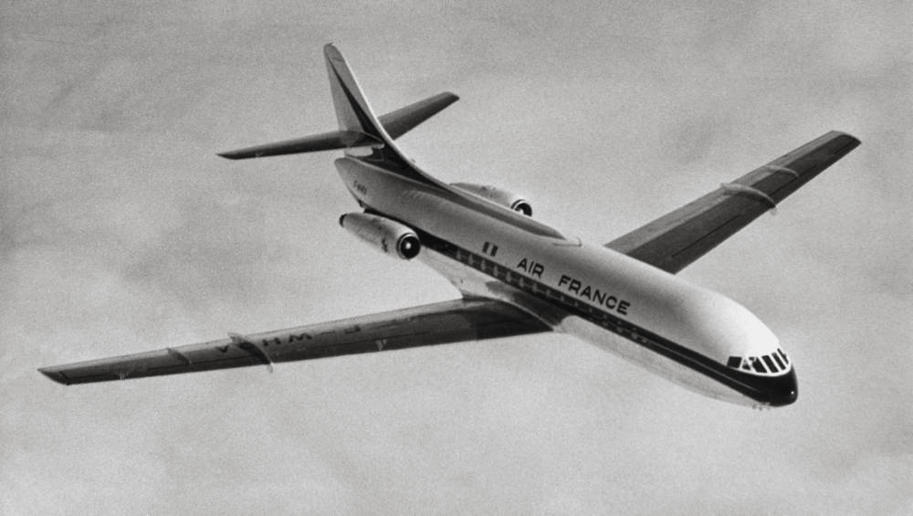 The Sud Aviation Caravelle SE 210 during flight.