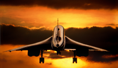 British Airways Aerospatiale BAC Concorde on final-approach at sunset