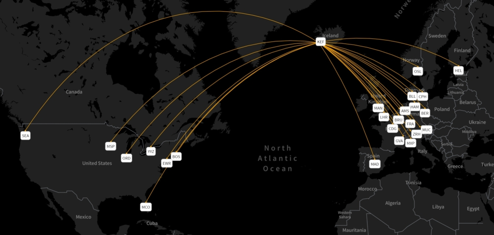Icelandair's MAX routes week starting August 16th 2021