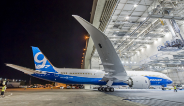 Boeing 787-9 Paint hangar Roll Out