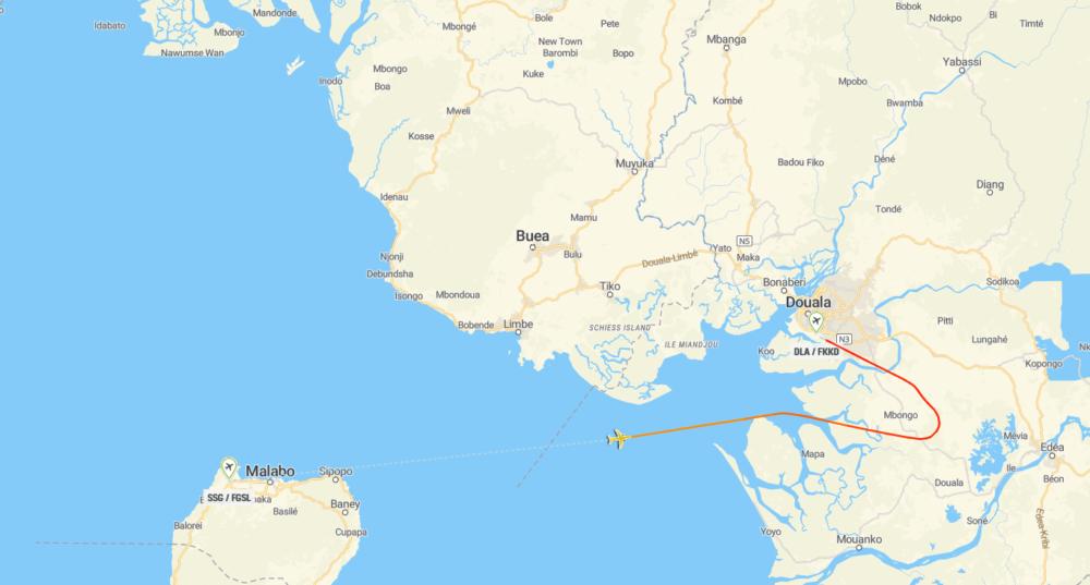 Malabo Douala Flightpath