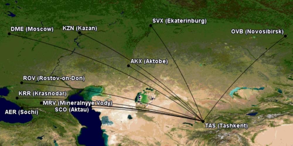 Potential international Uzbekistan Express routes