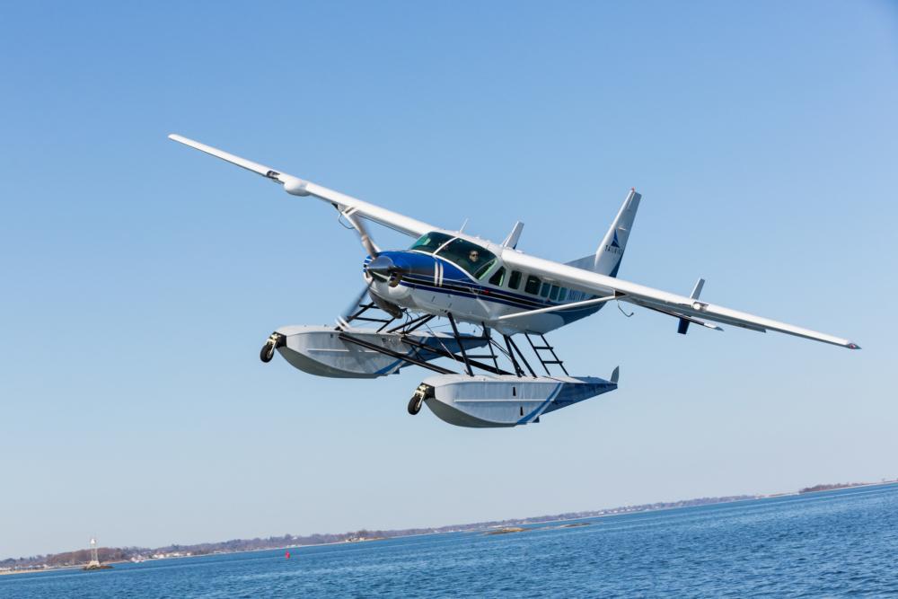 Tailwind Air Cessna Grand Caravan EX in flight over Boston Harbor