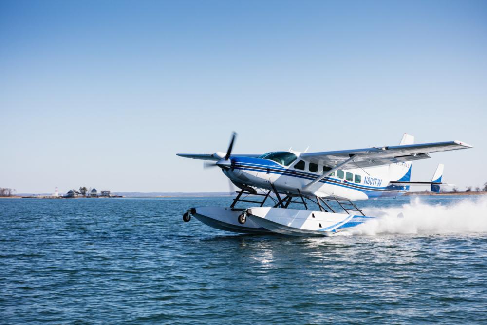 Tailwind Air Cessna Grand Caravan EX landing in Boston Harbor