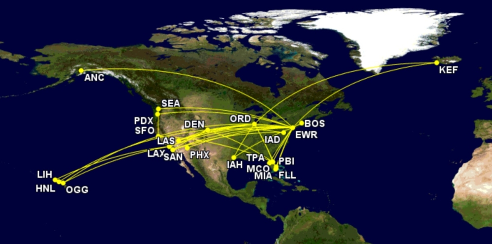 United's B757-200 routes in September 2021