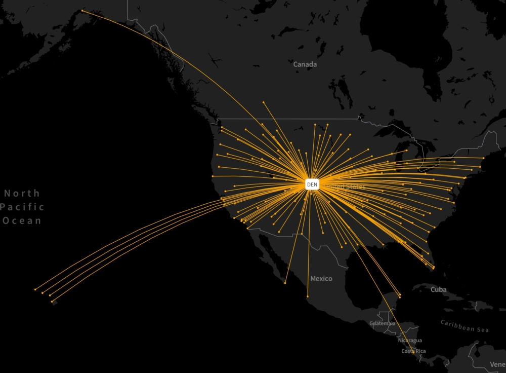 United's Denver routes on August 16th, 2021