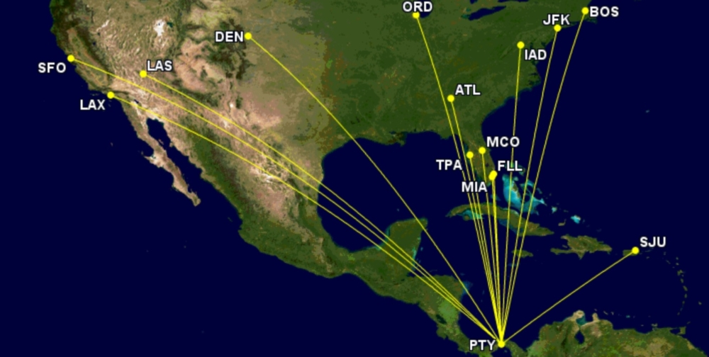 Copa's US route map week of December 12th 2021