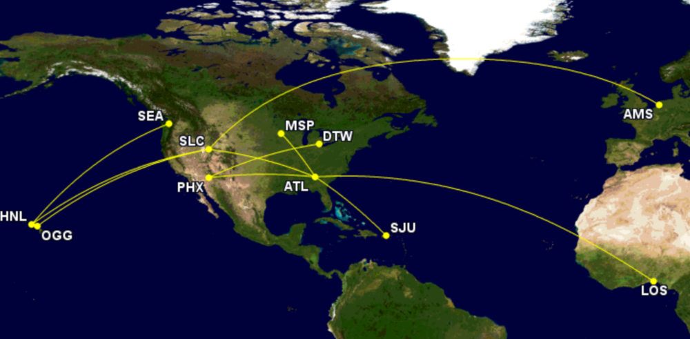 Delta's top-10 A330-200 routes in 2021