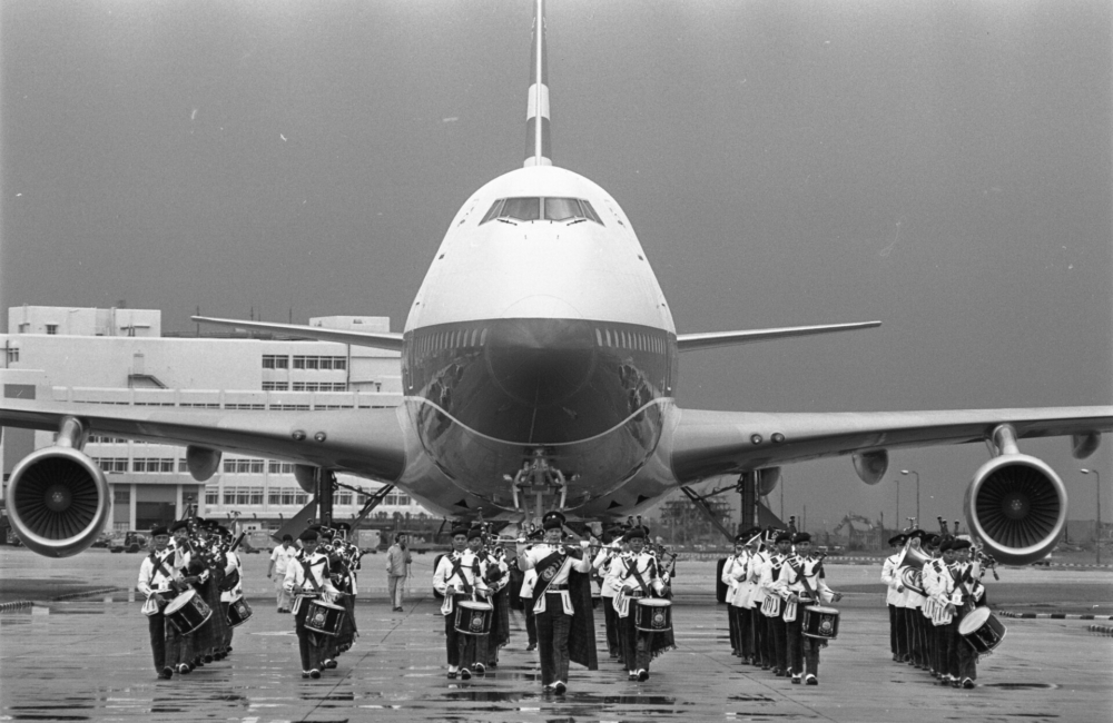 Arrival of Cathay Pacific Airways' first Boeing 747 plane (B747-200B) from the United States at the Kai Tak Airport. 31JUL79