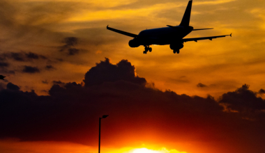 Sunset View Of Airplane At London Heathrow Airport