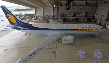Jet Airways India's First Boeing 737 Max Aircraft Displayed At Jet Airways Hangar In Mumbai