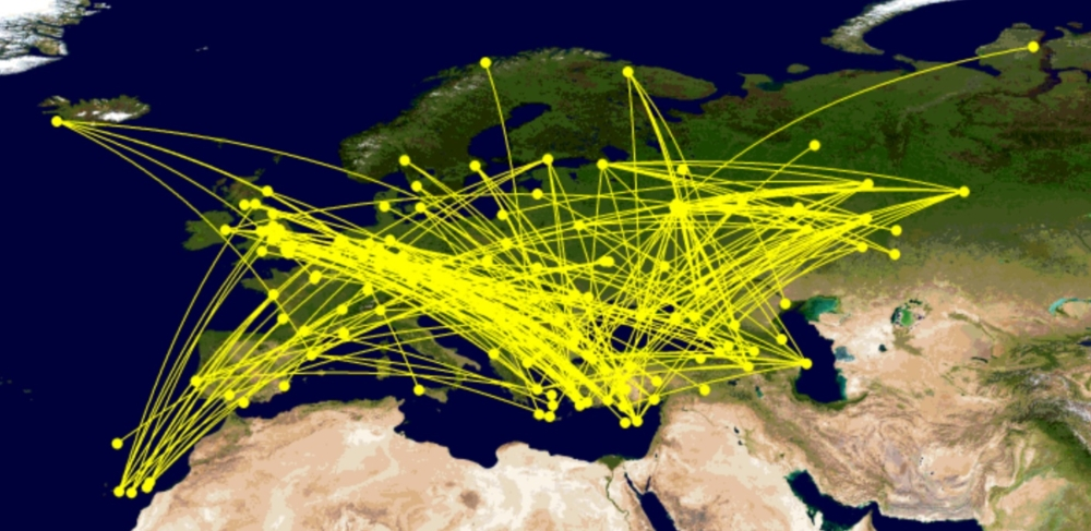 Red-eye routings within Europe