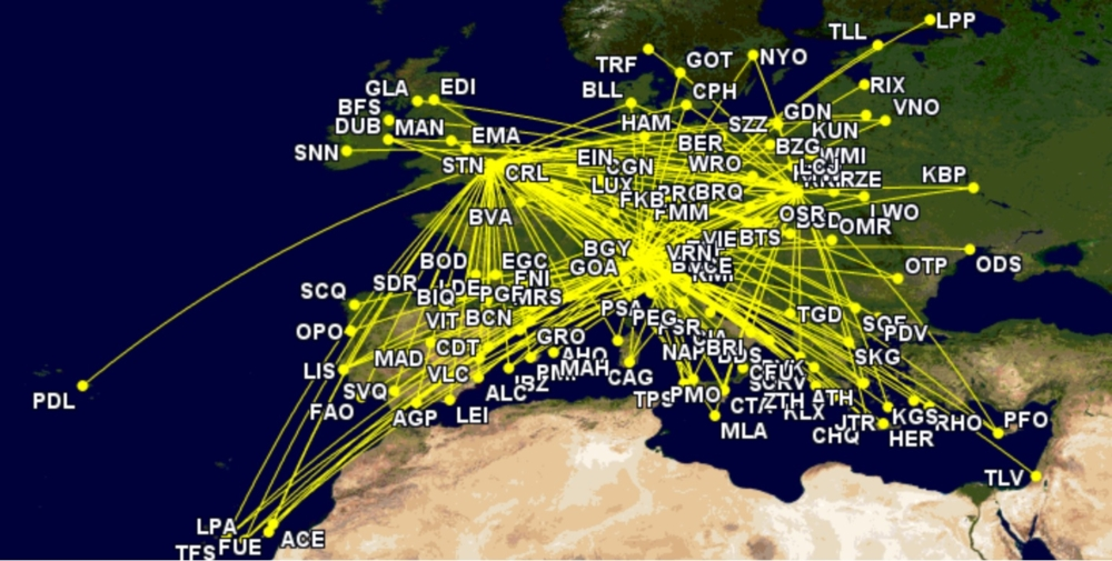 Ryanair MAX routes in October 2021