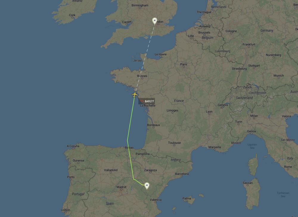 British Airways A380 leaves Teruel