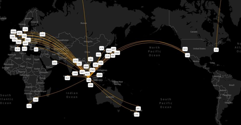 Singapore Airlines' network week beginning September 24th