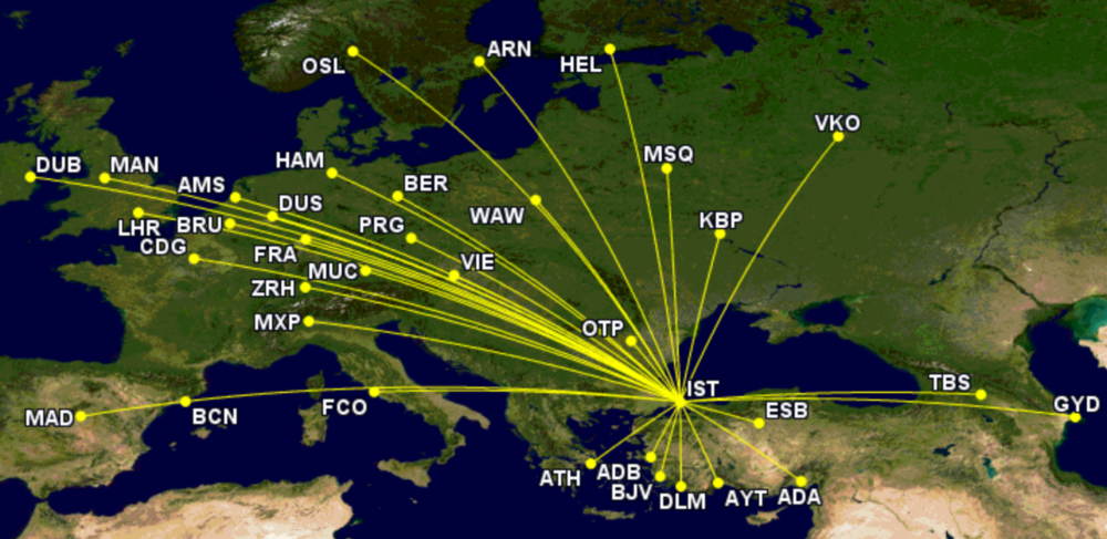 Turkish Airlines' widebody routes Europe, Turkey, Caucasus week beginning September 20th 2021