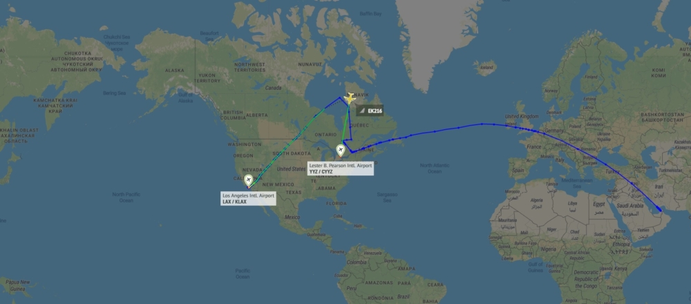 Why Emirates' Los Angeles A380 Flight Stopped In Toronto And London