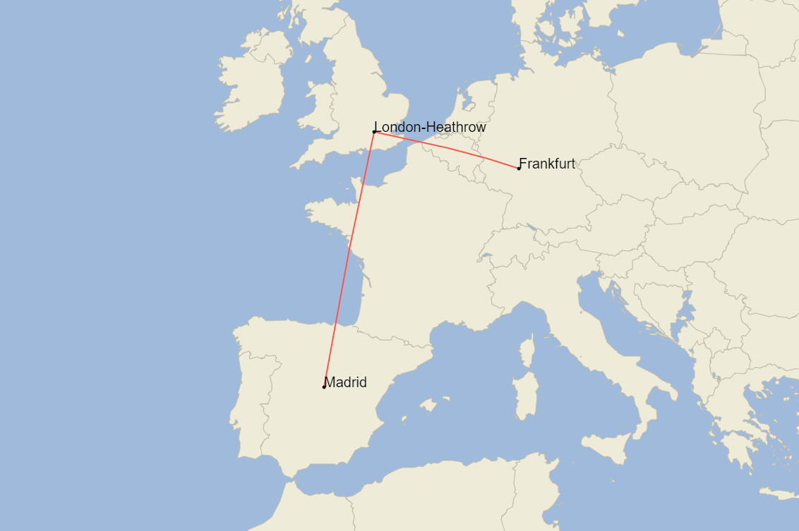 British Airways, Airbus A380, Frankfurt, Madrid
