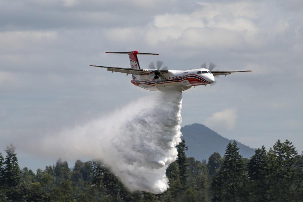 Conair Dash 8-400 Airtanker Water Drop - Photo Credit Jeff Bough