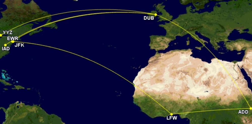 Ethiopian Airlines to North America