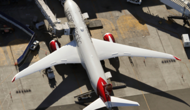 A Virgin Atlantic Airways Boeing 787-9 Dreamliner is parked