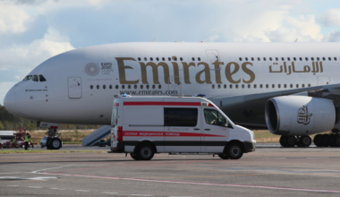 Emirates A380 with Ambulance