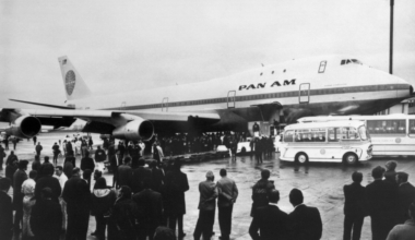 A Pan Am Boeing 747 is seen just after l