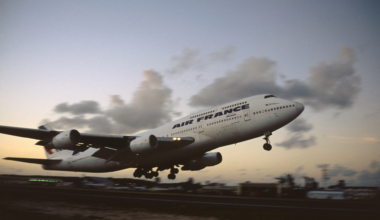 Air France Boeing 747-300 Combi taking-off at dusk