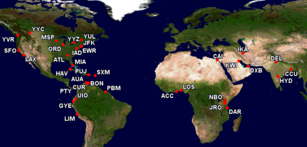 KLM's MD-11 destinations 2004 to 2014