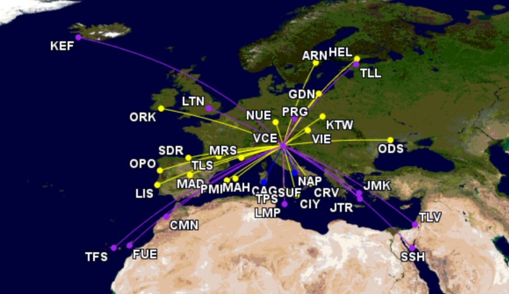 Ryanair and Wizz Air coming routes at Venice