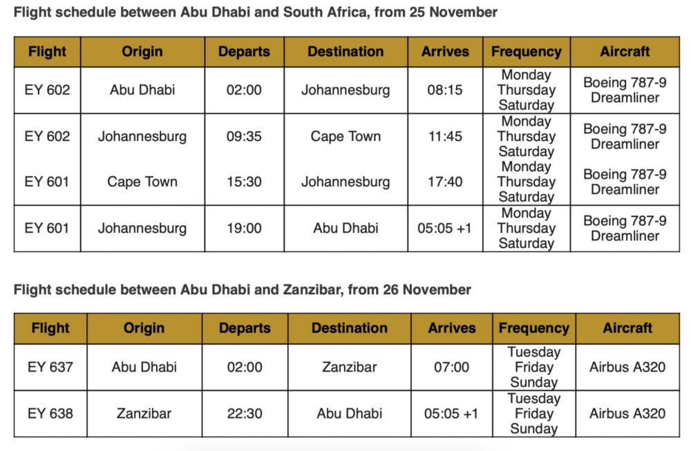 etihad schedule