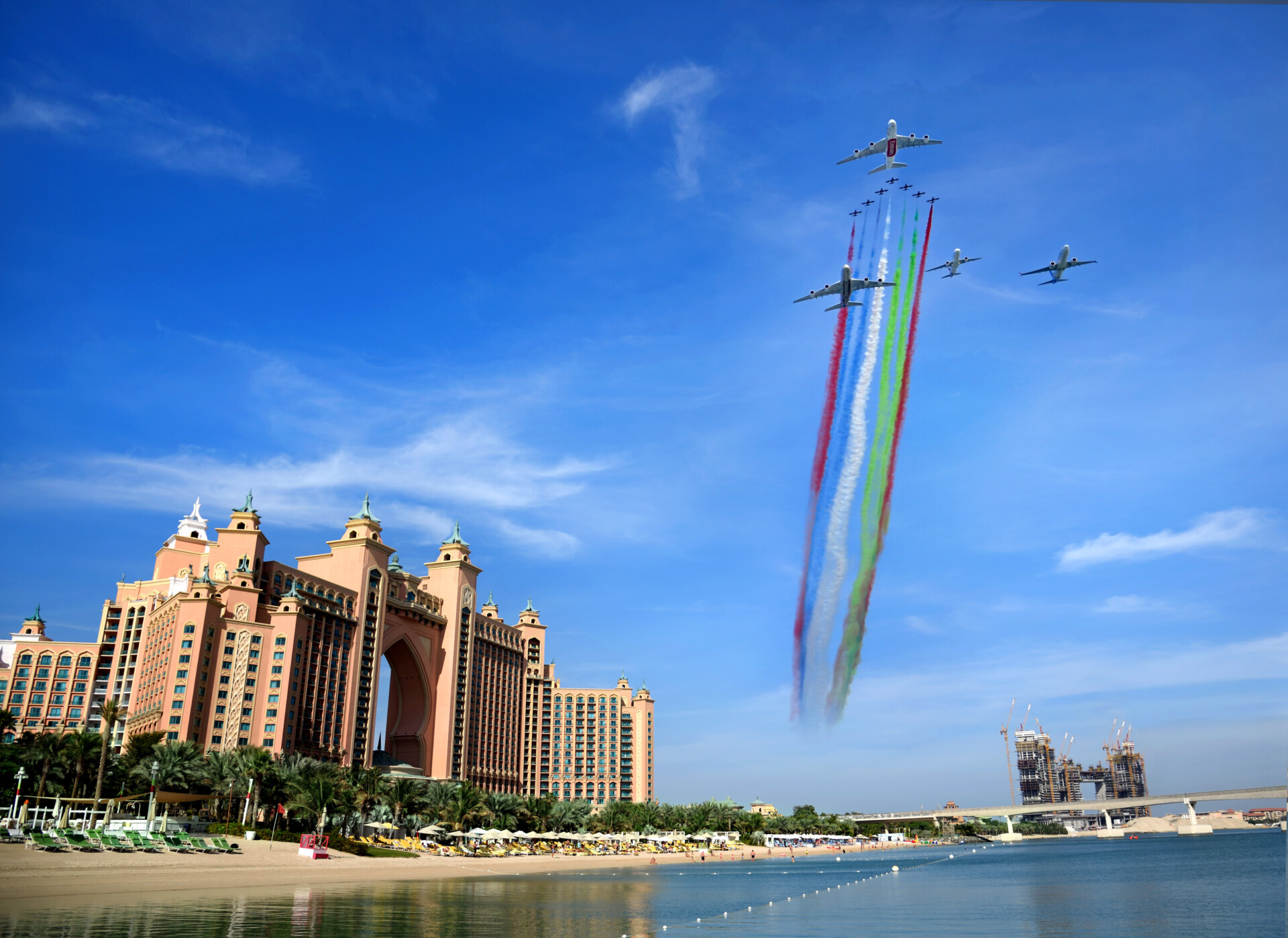 Emirates, UAE National Day, Formation Flight, Airbus A380