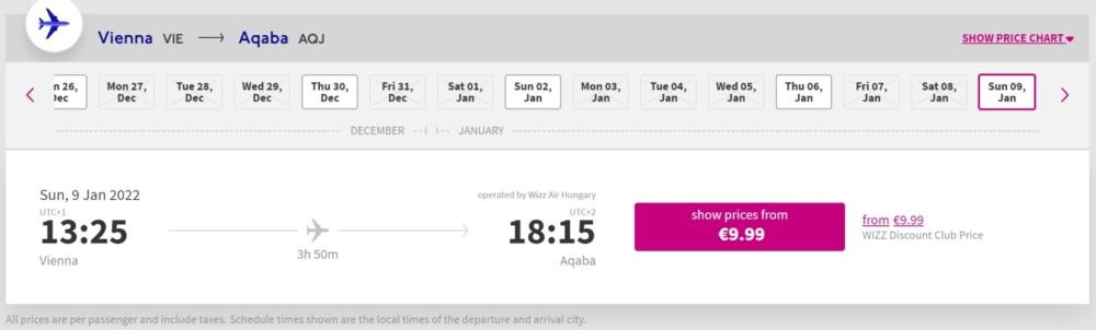 Vienna to Aqaba