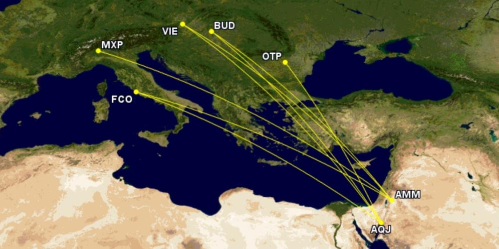 Wizz Air's routes to Jordan